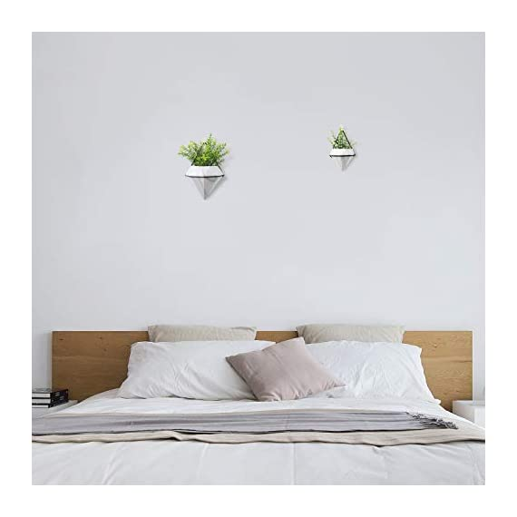 T4U Diamond Wall Planter Indoor, Set of 4 Geometric Wall Mounted Plant Holder Vase, Ceramic Succulent Air Plant Flower Pots Cactus Faux Plants Containers, White Modern Decor for Home and Office 3 - Made of Top-Quality ceramic and fired at 1200℃ temperature, modern and stylish, Quality Assurance. - Amazing diamond appearance makes it quite different from other classic wall planter. It's not a simple triangle container any more but a unique diamond decor on your wall, catching the first eye of people who passes by. - Made of iron and finished with black color, make the white diamond planter outstanding enough. You can put them in your living room, bedroom, kitchen, or study. Just anywhere you like.