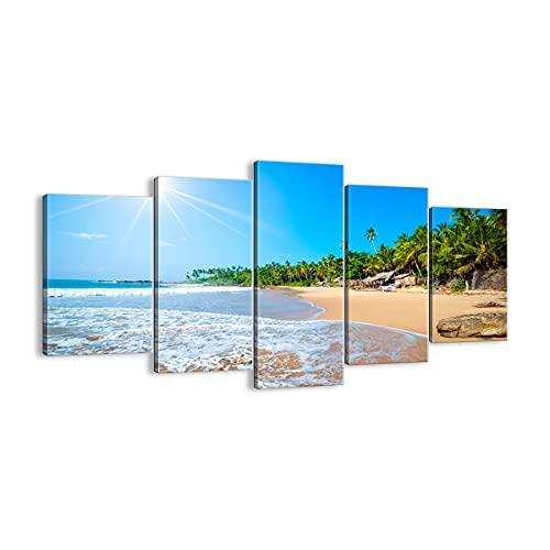 Quadro su tela - 5 Parties - Isola paesaggio maledivia libertà - 160x85cm - Pronto da appendere - Home Decor - Stampe su Tela - Quadri Moderni - completamente incorniciato - EA160x85-2391