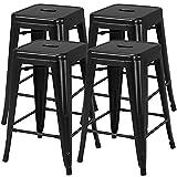 YAHEETECH 24inch Metal Bar stools Set of 4 Counter...