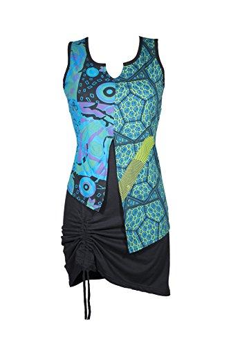 Filosophie Einzigartiges Kleid mit liebevol bearbeiteten Details und bunten Ethno Muster – Casual Chic - Luna (XXL)