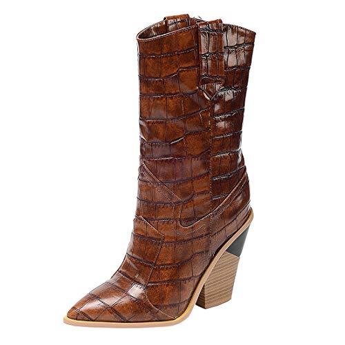 MISSUIT Damen High Heels Blockabsatz Stiefel Halbschaft Western Cowboy Boots Spitz Halbhohe Stiefel mit 10cm Absatz Plaid Schuhe(Braun,42)