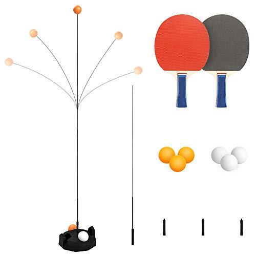 Maxjaa Entrenador de Tenis de Mesa con Eje Suave elástico, Juego de Tenis de Mesa fácil de Instalar Incluye Base, 2 Palos, 6 Pelotas y 3 Dispositivos de Ajuste de Altura