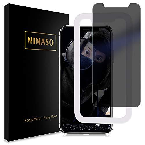【覗き見防止】【ガイド枠付き】 Nimaso iPhone XR 用 強化ガラス液晶保護フィルム 硬度9H/貼り付け簡単 ( 6.1 インチ iPhoneXR 用 保護フィルム )