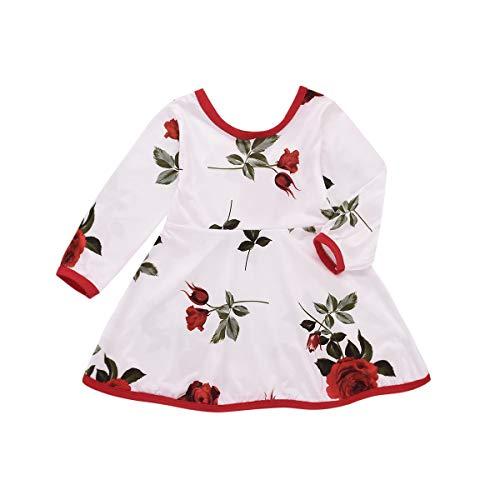 HaiQianXin Kids Baby Meisje Rose Gedrukt Jurk Peuter Casual Feestjurk Outfit (Maat: 1 Y-2Y)