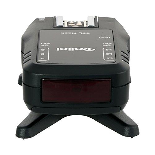 Rollei Wireless Flash Unit Receiver-Receptor flash de disparador de flash por radio profesional, con sincronización de alta velocidad de hasta 1/8000segundos, para Canon y Nikon, color negro