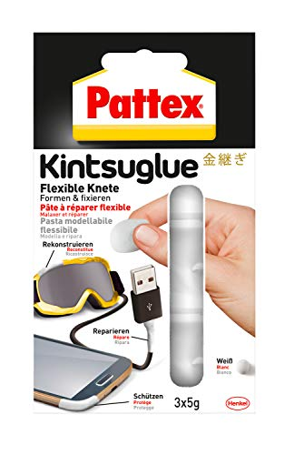 Pattex Kintsuglue Flexible Knete weiß / Leicht formbare Klebepaste zum Reparieren, Rekonstrukieren, Schützen & Verbessern von fast allen Gegenständen / 3 x 5g