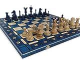 KHAPLO ® – Juego de ajedrez de madera de lujo – Capaz plegable – Hecho a mano – 54 x 54 cm – Gran bandeja de juego – Modelo Athen – Azul – Chess Board - Juego de mesa – Juego de ajedrez