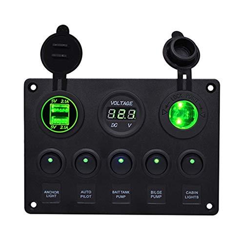 XXYHYQHJD Circular Interruptor Combinado USB del Panel de Doble LED del Cargador del Coche del voltímetro combinación de Interruptor Panel de Control for Yates de Coches