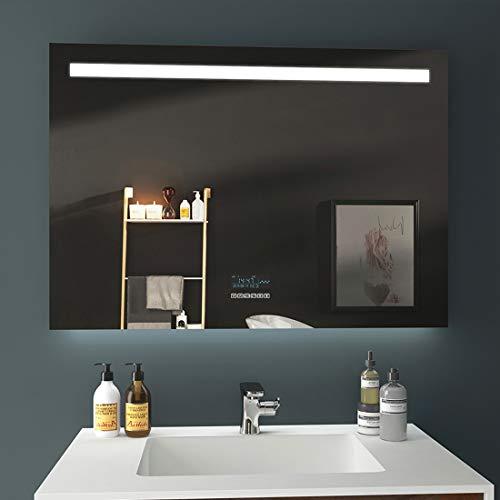 EMKE LED badkamerspiegel met verlichting warmwitte lichtspiegel wandspiegel 100x70cm Touchschalter + beschlagfrei + Bluetooth Stijl F