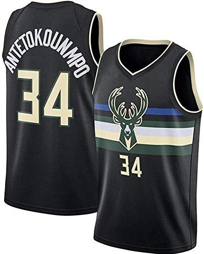 dll Bucks Pallacanestro Jersey NBA Uomo # 34 Giannīs Antetokounmpo Raffreddare Uniforme Tessuto Traspirante all-Star Fan Unisex Senza Maniche Canotta Abbigliamento (Color : B, Size : XXL)