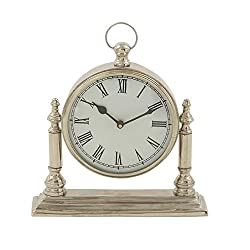 Deco 79 27592 Artistically Styled Aluminum Table Clock