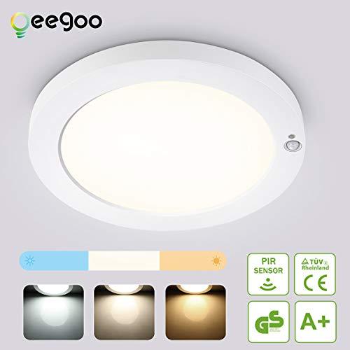 Oeegoo LED Deckenleuchte mit Bewegungsmelder, 18W 1550LM Deckenlampe mit Bewegungssensor, 3 Farbtemperatur Einstellbar Ultraslim Sensorlampe für Badezimmer, Balkon, Keller, Veranda, Treppenhaus.
