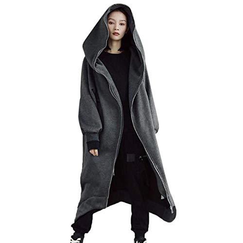 ShSnnwrl Moda Sudaderas Jersey Sweater Casual Mujer Sudaderas con Capucha Largas Abrigo con Cremallera Prendas De Abrigo Chaqueta con Capucha Tallas Grandes Terciopelo Outwear Tops 3XL Darkgrey
