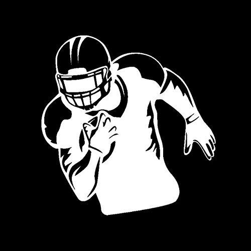 CZJMCT-DQ 14,8 cm x 15,1 cm, diseño de jugador de fútbol americano con dibujos animados, casco de protección deportiva, vinilo adhesivo negro / plata CZJMCT-DQ (nombre del color: plateado)