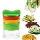 Ncheli Cortador de Verdura 4 en 1, Espiralizador de Verduras Mandolina espiral Rallador de Verduras Mano para Espaguetis de Calabacín, Zanahorias, Pepinos