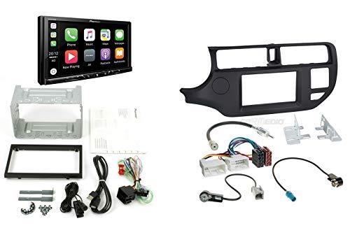 Pioneer Autoradio für Kia Rio UB 11-15 mit Apple CarPlay Android Auto DAB+ Digitalradio inkl. Antennenadapter Radioadapterkabel Radioblende (schwarz) Rahmen und Zubehör