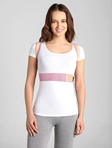 ®BeFit24 Schultergurt Haltungskorrektur für Damen und Herren - Geradehalter für Rücken Schulter - Rückenstabilisator - Haltungstrainer - Back Support Posture Corrector [ Size 1 - Rosa/Beige ]