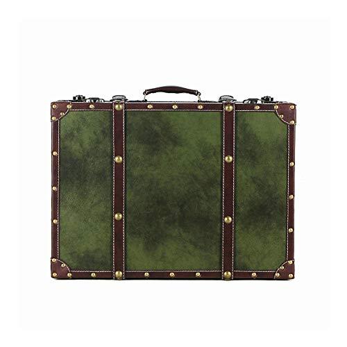 GYMEIJYG Maleta Vintage, Almacenamiento Adornos Viaje cafetería Accesorios de fotografía Escaparate Festival Regalo 7 Estilos, 5 tamaños (Color : Green, Size : 34x25.5x13cm)