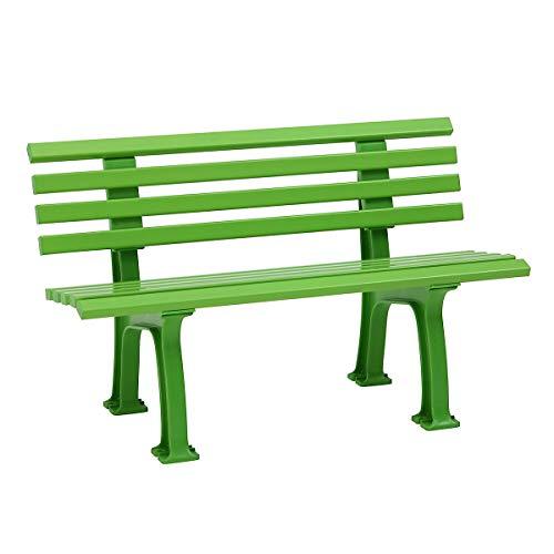 Banc en matière Plastique - 9 Lames, 2 Places - Vert-Jaune -