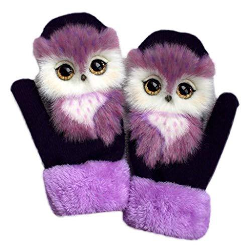 Winter-Handschuh, flauschige 3D-Thermo-Fäustlinge für Damen und Herren, gestrickte Handschuhe für den Winter, warme Fäustlinge mit Cartoon-Motiv, gemütlich, Vollfinger-Handschuhe
