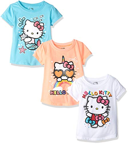 Hello Kitty Little Girls' 3 Pack T-Shirt with Glitter Print, White/Coral/Blue, 6X
