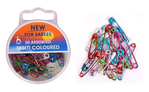 Vardhman Pony Special Multicoloured Saree Safety Pins, 30 pcs, in A Plastic Box