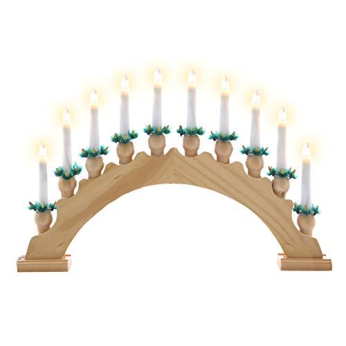 Nipach GmbH Schwibbogen aus Holz braun 10 Lichter - Leuchtfarbe: weiß - Leuchtbogen Lichterbogen Rundbogen Adventsleuchter Weihnachtsbeleuchtung Weihnachtsdeko