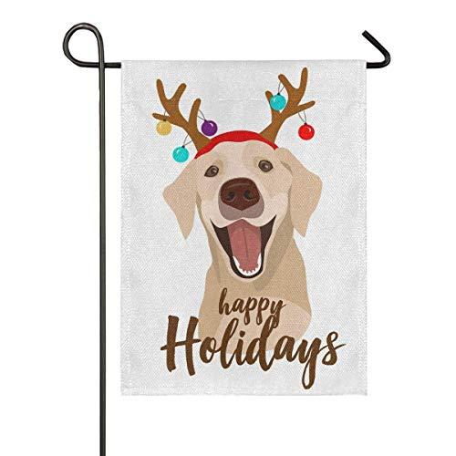 LL-Shop Joyeux Noël Joyeuses Fêtes Chien Pluie Cerf Corne Toile De Jute Jardin Drapeau Double Face, Maison Cour Drapeaux, Vacances Saisonnier Extérieur Décoratif Drapeau