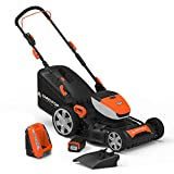 YARD FORCE YOLMX21P300 Lithium Ion Battery Powered Mower, Black/Orange
