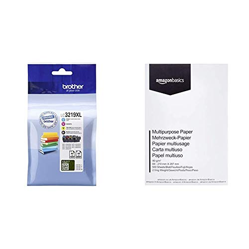 Brother Original Tintenpatronen LC-3219XL im Value Pack, AmazonBasics Druckerpapier, DIN A4, 80 g/m², 500 Blatt, Weiß