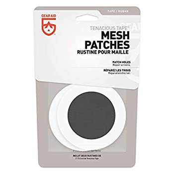 """GEAR AID Tenacious Tape Mesh Patches for Tent and Bug Screen Repair 3"""" Rounds Black Mesh"""