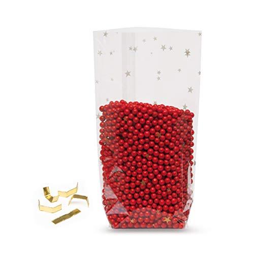 Elke Plastic Kreuzbodenbeutel 30 mµ mit Sternen & 100 Clipse I 145 x 235 I 100 Stück I Plätzchentüten Weihnachten I Weihnachtstüten zum Befüllen I Zellophan Tüten I Bodenbeutel Weihnachten