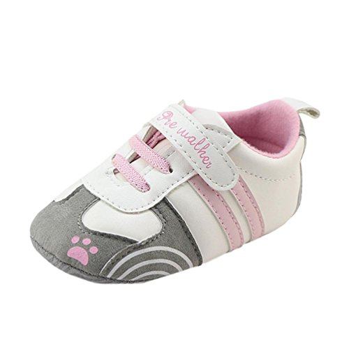 LNGRY Newborn Baby Boys Girls Crib Prewalker Soft Sole Anti-Slip Sneakers Shoes (Pink, 9-12 Months)