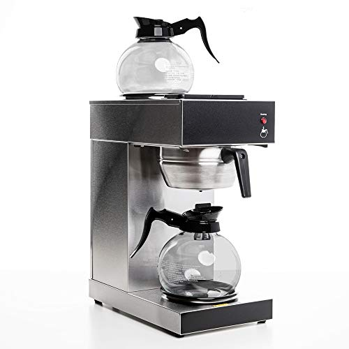 SYBO SF-CB-2GA Commercial Grade Pour Over Coffee Maker and Brewer with 2 Glass Carafes and Kettle Warmer, 12-Cup Capacity, Stainless Steel