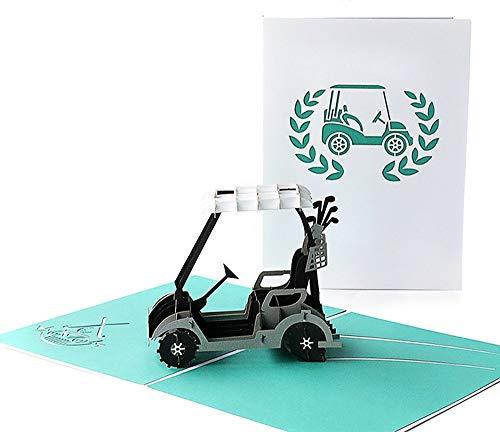 DEESOSPRO® [Tarjeta de Cumpleaños] [Tarjeta de Aniversario] [Tarjeta de Graduación] con Patrón Emergente 3D Creativo, Regalo para Cumpleaños, Graduación, Navidad, Día del Padre (Carro de golf)
