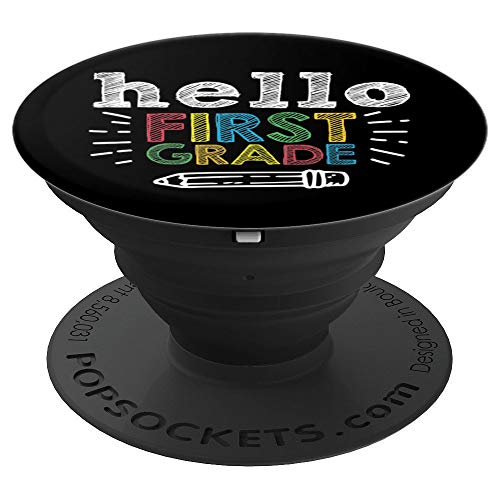 Hello 1st Grade Pencil Back To School Learning Student Gift PopSockets Grip and Stand for Phones and Tablets