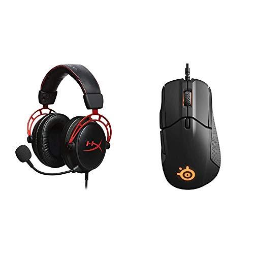 HyperX HX-HSCA-RD Cloud Alpha - Gaming Kopfhörer mit In-Line Audio Control & SteelSeries Rival 310, optische Gaming-Maus, RGB-Beleuchtung, 6 Tasten, seitliche Gummigriffe, Farbe schwarz