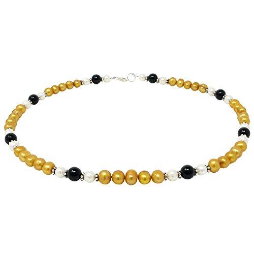 Kette Collier Halskette aus Perlen Süßwasser-Zuchtperlen & Onyx gelb-schwarz-weiß 48cm