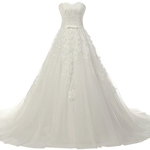JAEDEN Lace Wedding Dress Ball Gown Strapless Bridal Gown Sweetheart Tulle
