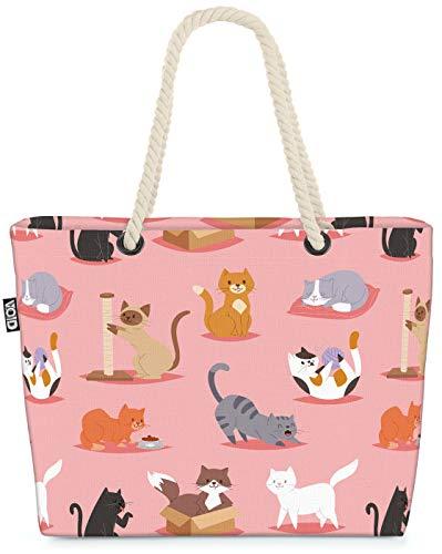 VOID Katzen Kätzchen Strandtasche Shopper 58x38x16cm 23L XXL Einkaufstasche Tasche Reisetasche Beach Bag