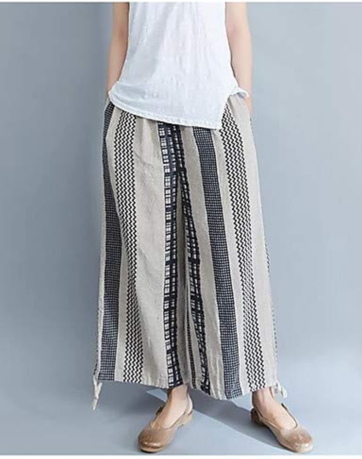 Women's Basic Wide Leg Pants  Solid colord bluee & White, Tassel