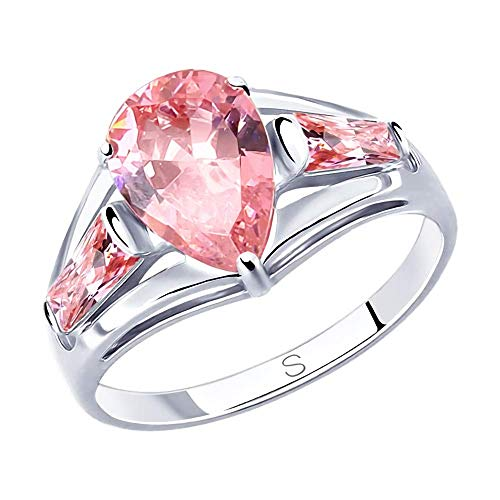 Mirkada - Anillo de plata para mujer con circonita rosa, talla 61