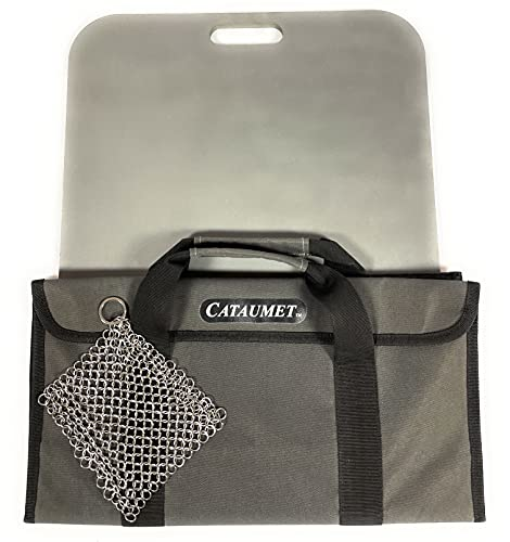 """Cataumet Pizza Steel Stone Premium 3/8"""" 15.5"""" x 14.5"""" Conductive Baking Surface Includes Storage Carry Bag Chainmail Scrubber"""