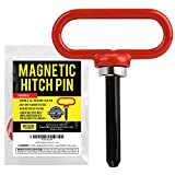Magnetic Hitch Pin Red Color - Lawn Mower Trailer Hitch Pins - Ultra Strong Neodymium Magnet Trailer Gate Pin for Simple One Handed Hook On & Off - Securely Hitch Lawn & Tow Behind Attachments
