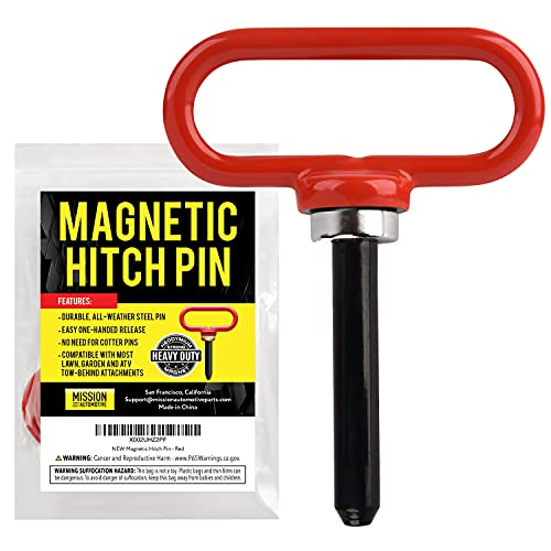 Magnetic Hitch Pin Red Color - Lawn Mower Trailer Hitch Pins - Ultra Strong Neodymium Magnet Trailer...