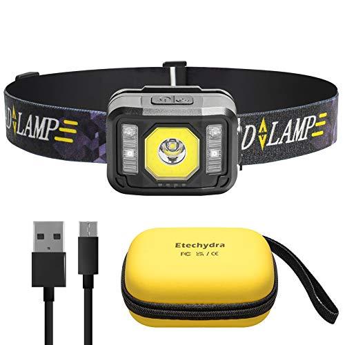 Etechydra Linterna Frontal LED USB Recargable, Linterna Cabeza Muy Brillante, 6 Modos...