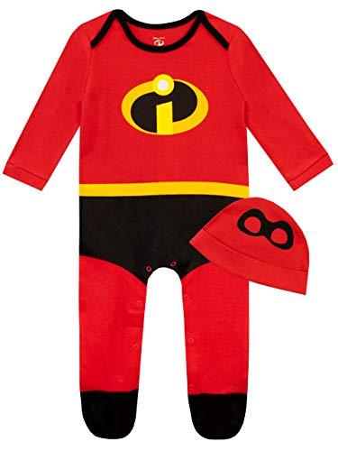 Disney Pijama Entera y Gorro para Niños Bebés The Incredibles Rojo 12-18 Meses