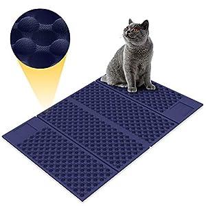 Zellar Alfombrilla para Gatos portátil (Grande)-Materias de alimentación de Gato de Doble Cara, atrapa-literas + a Prueba de Agua + Plegables + Goma de Espuma de EVA Suave no tóxica (Azul/Negro) 3