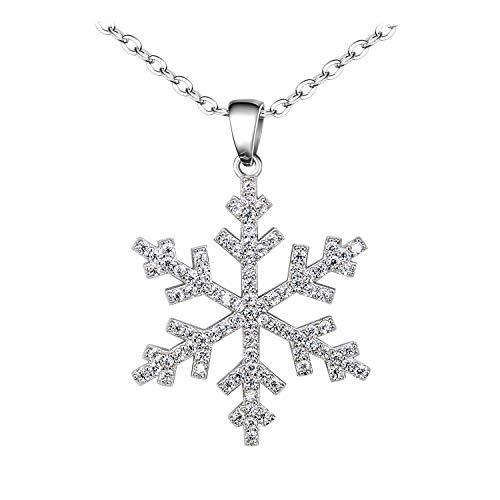 BiBeary Mujer elegante 925 Plata Esterlina Zirconia CZ Copo de Nieve Invierno Navidad cadena Pendant Collar claro
