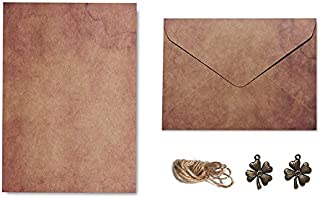 Vintage Kraft Paper Envelopes Letter Paper Set with Exquisite Pendant & Hemp Rope, Stationery Envelope Set Confession Lett...